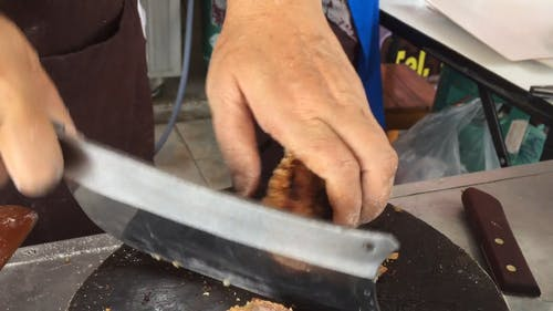 Chopping Fried Pork Cracklings
