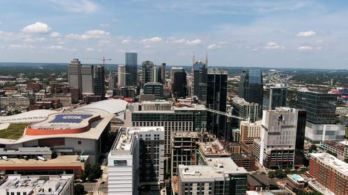 Aerial Footage Of The Business District  In A City