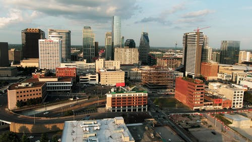 Drone Footage Of The Business District Of A City
