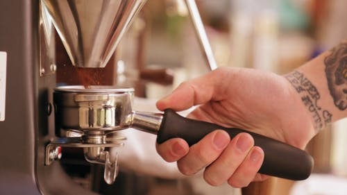 Ground Coffee From A Coffee Bean Grinder Machine
