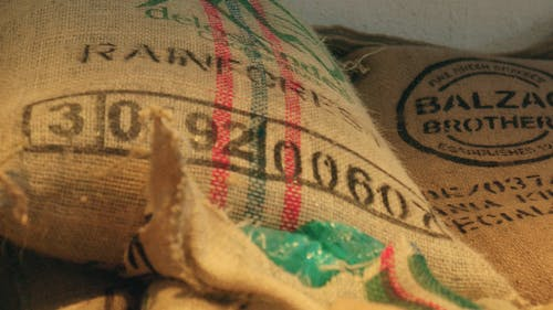 Close-Up View Of Sacks Of Green Coffee
