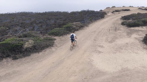 A Biker Riding A Mountain Bike On An Off Road Trail