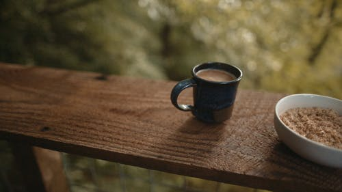 Breakfast Food On A Wooden Ledge