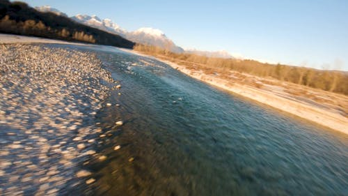 Drone Footage Of A Streaming River