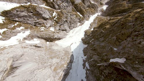 A River Of Ice Flows Down From The Mountain
