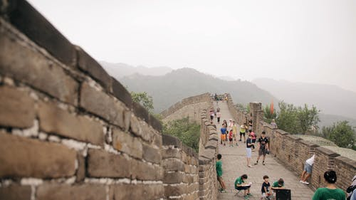 Slow Motion footage Of A Crowd Of Tourists Walking Along The Great Walls Of China With The View Of The Surrounding Landscape