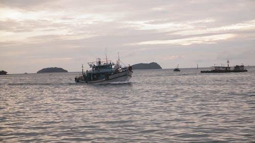 A Trawler Boat At Sea