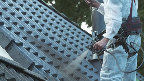 Coating A Concrete Roof With Spray Paint