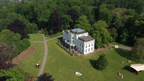 Aerial View Of Mansion Surrounded By Trees