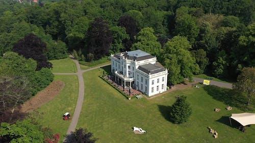 Luchtfoto Van Een Herenhuis Omgeven Door Bomen