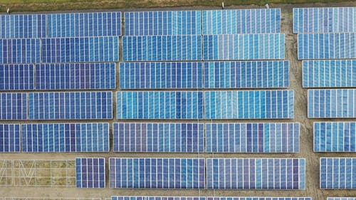 Solar Panels In Rows To Catch The Heat Of The Sun