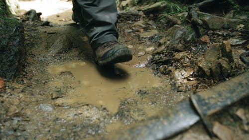 A Person Stepping On Mud