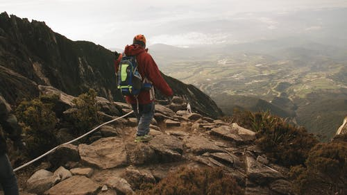 Mountain Climbers On A Hiking Trail