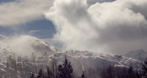 The Wind Blowing Hard In The Snow Capped Mountains And Hills