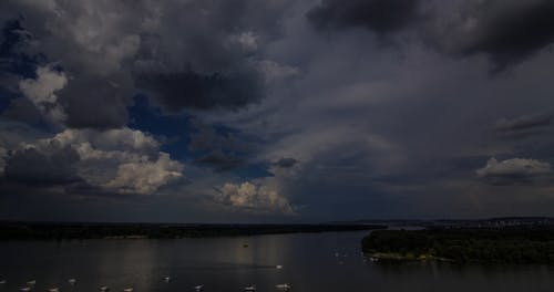 Clouds Formation In The Sky Over A Grand River
