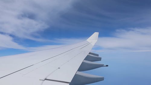 A Wing Of An Airplane While On Flight Up In The sky