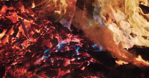 Slow-Motion Footage Of Flames On Burning Wood