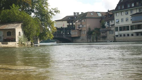 Houses And Buildings Along The Riverbanks