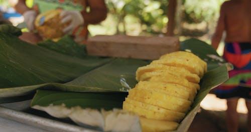 Preparing Pineapple Slices For Food