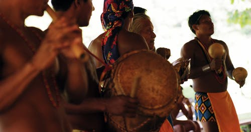 Tribe Men Plays Traditional Musical Instruments
