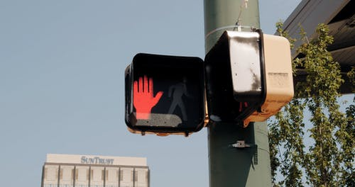 The Stop Light For Pedestrian Crossing