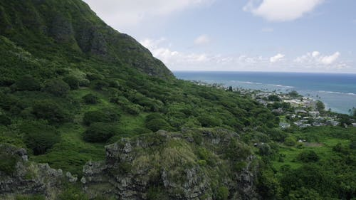 Aerial Footage Of The Green Lush Mountain By The Blue Sea