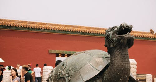 A Mythical Creature On Display In A Temple