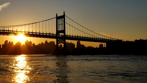 Silhouette Of A Bridge And City Buildings