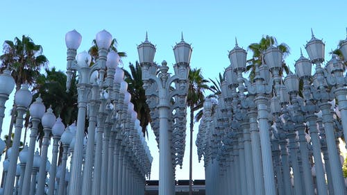 Pillars Of Lamp Post Standing In Rows