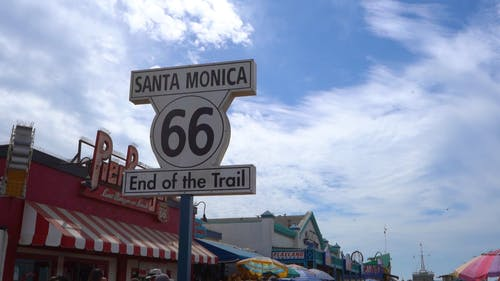 A Sign Board Signifying A Location In Santa Monica