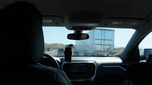 Road Travel Footage On A Highway From Inside A Car