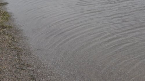 The Calm Surface Of A Lake Moves In The Direction Of The Wind