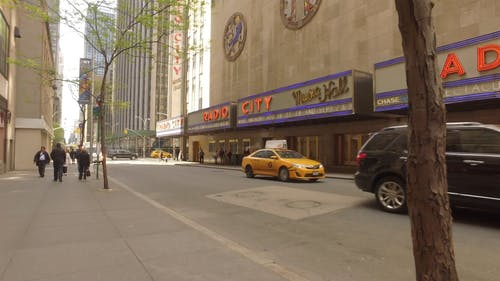 Footage Of The Radio City Music Hall Building From Across The Street