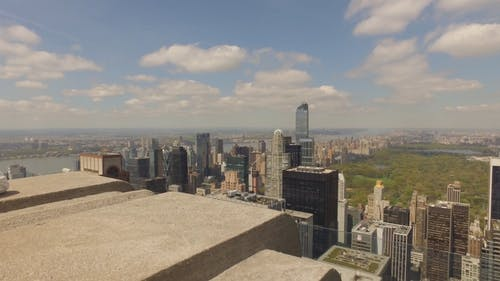 New York City Skyline And View From Top Of A Tall Building