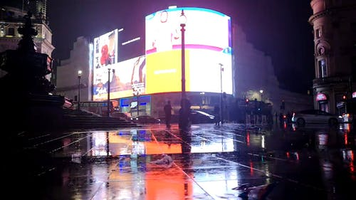 Giant Electronic Billboards On A Building  Shows Brand Advertisements At Night