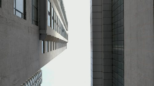 Low Angle Footage Of Perspective Of A Modern Building