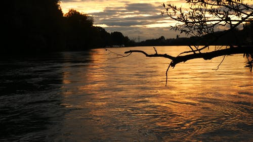 River Flowing With View Of Sunset