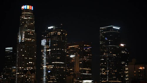 View Of Buildings In The City At Night