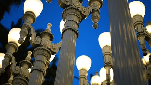 Rows Of Street Lights Post Of Different Designs On Display