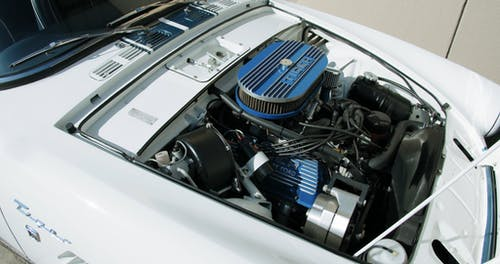 Top View Of The Engine Of A Classic Car With Open Hood