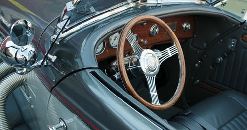 The Interior And Chrome Sidings Of A Vintage Car