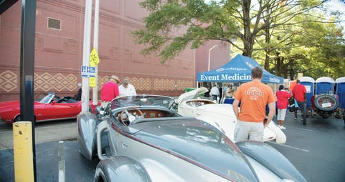 Vintage Cars On Display In A Car Show Event