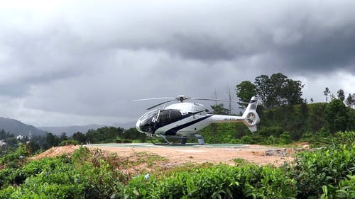 A Helicopter Starting Its Main Rotor