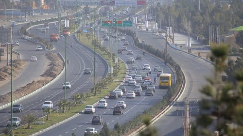 Aerial View Of Flow Of Traffic In The Highway