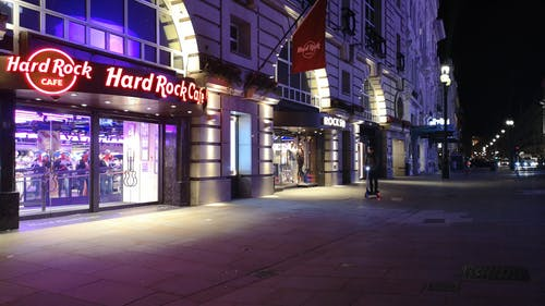 Famous Hard Rock Cafe Along The Street