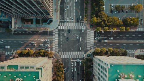 Traffic On An Intersection Road In A City