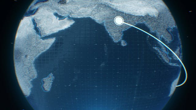 Digital Projection Of Geometrical Distance Of Earth S Land Mass End Points