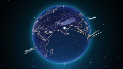 Digital Simulation Of Airplanes Flying Around The Earth's Atmosphere
