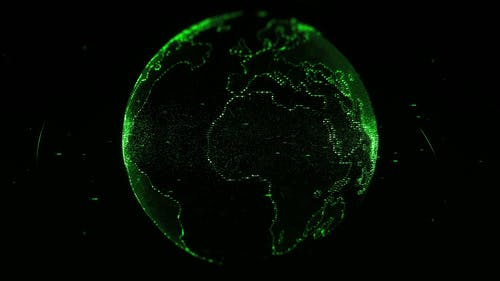 Digital Projection Of The Earth's Mass In Green Lights
