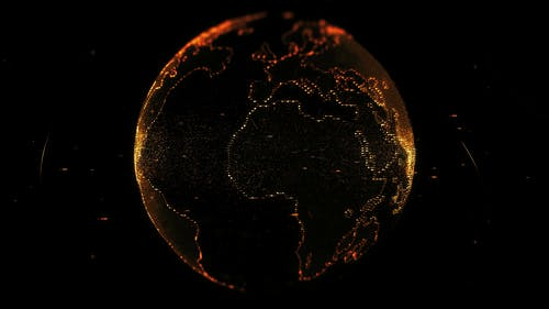 Digital Projection Of The Earth's Mass In Orange Lights